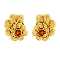 Valentin Magro Citrine Gold Scalloped Shell Earrings