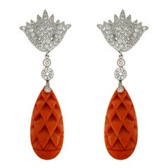 Valentin Magro Coral Carved Pine Cone and Diamond Cap Earrings