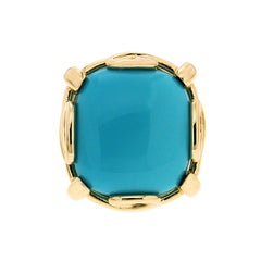 Valentin Magro Cushion Turquoise Cabochon Ring in Gold