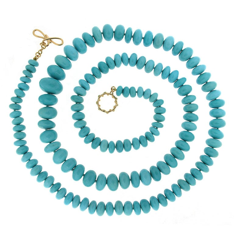 Valentin Magro Rare Graduating Turquoise Rondelle Necklace For Sale
