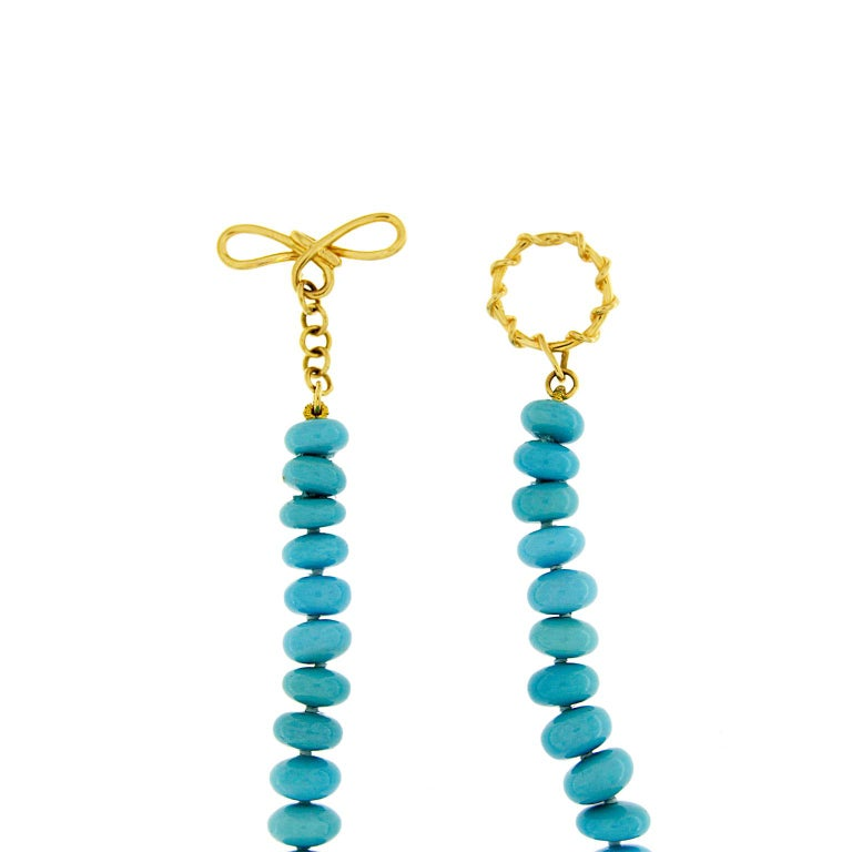 Women's Valentin Magro Rare Graduating Turquoise Rondelle Necklace For Sale