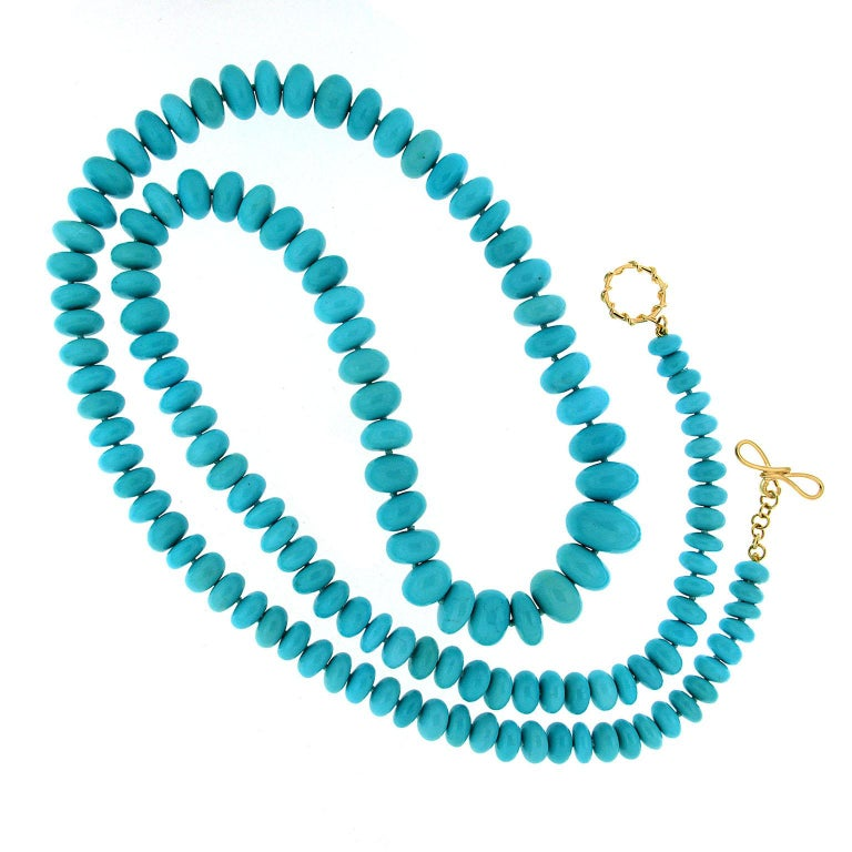 Valentin Magro Rare Graduating Turquoise Rondelle Necklace In New Condition For Sale In New York, NY