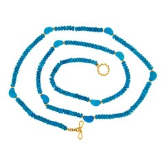 Turquoise Bean and Roundels Gold Bead Necklace
