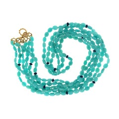 Valentin Magro Amazonite Pebbles and Lapis Roundels Necklace