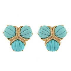 Valentin Magro Turquoise and Diamonds Fan Earrings
