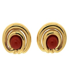 Valentin Magro Double Rim Overlap Red Coral Gold Earrings