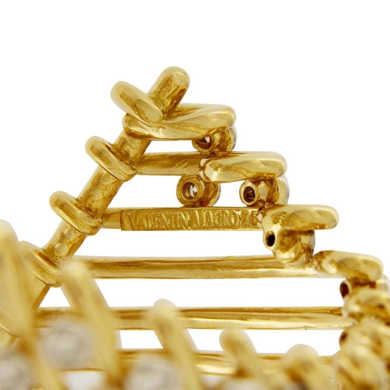 Valentin Magro Diamond Gold Triangular Motif Netting Bracelet For Sale 1