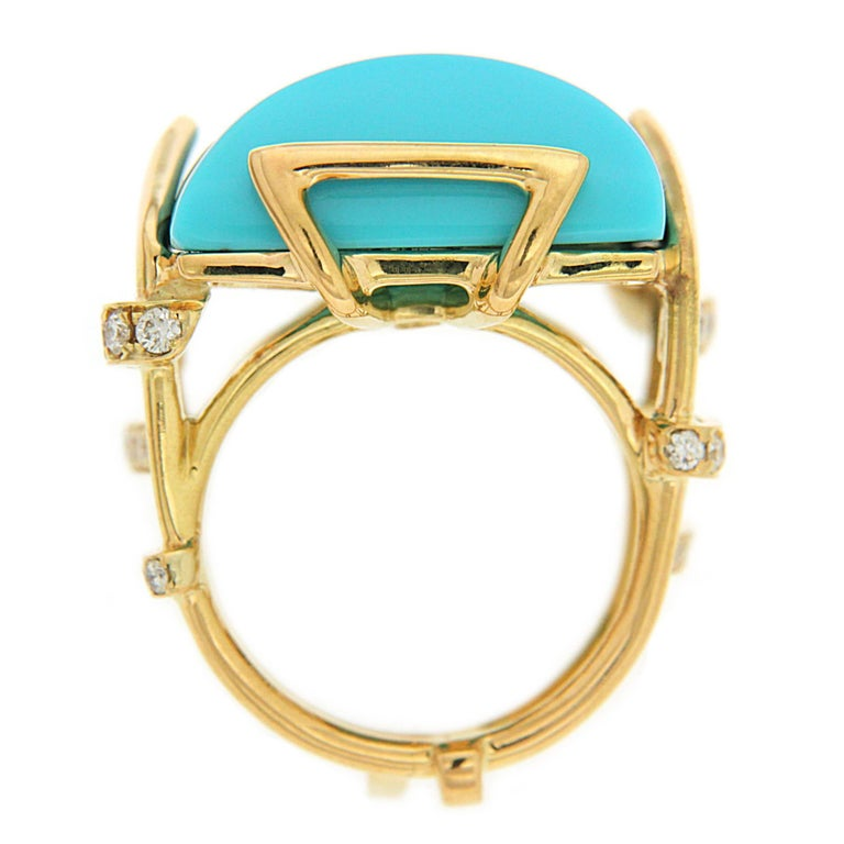 Women's Valentin Magro Large Special Cut Turquoise and Diamond Solitaire Ring For Sale