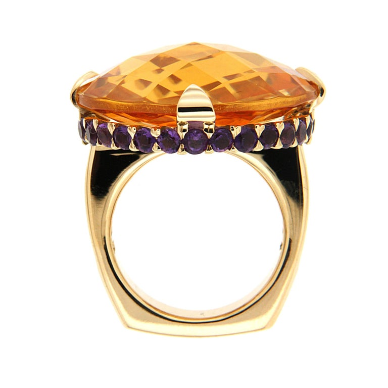 Baguette Cut Unique Citrine Amethyst Peridot Gold Checkerboard Ring For Sale