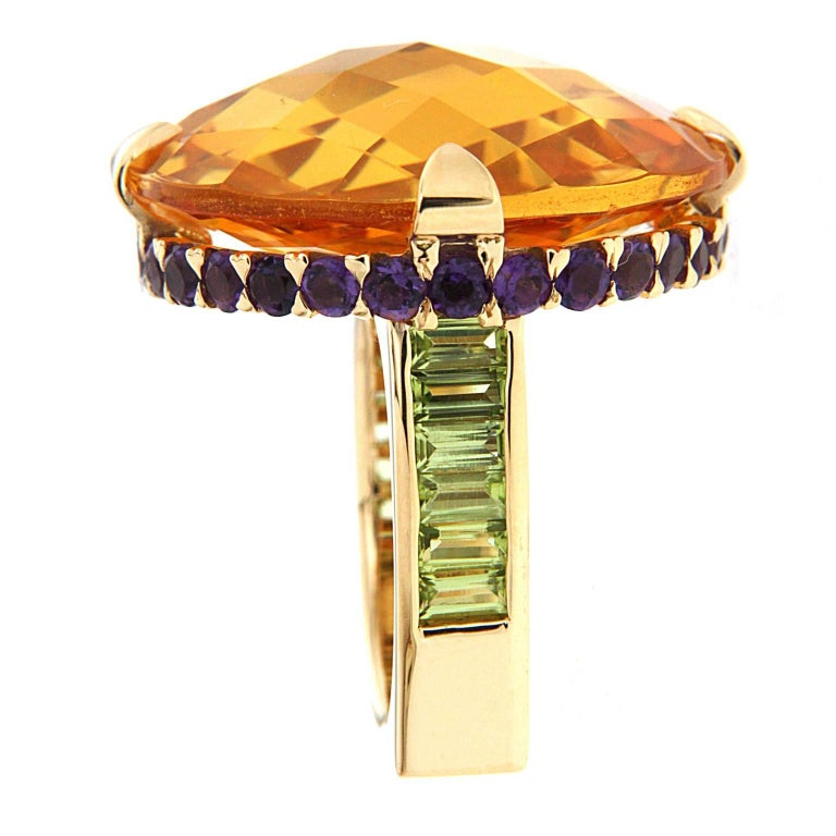 Unique Citrine Amethyst Peridot Gold Checkerboard Ring In As New Condition For Sale In New York, NY