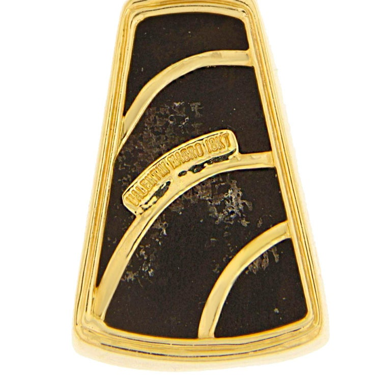 Women's Chrysocolla Malachite Diamond Gold Dangle Earrings For Sale