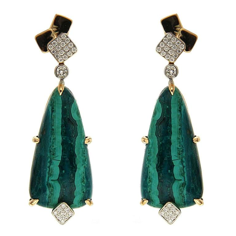 Valentin Magro Cubic Malachite Diamond Gold Drop Earrings