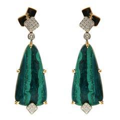 Cubic Malachite Diamond Gold Drop Earrings