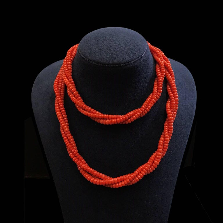 Three Strands of Coral Roundels Necklace 2