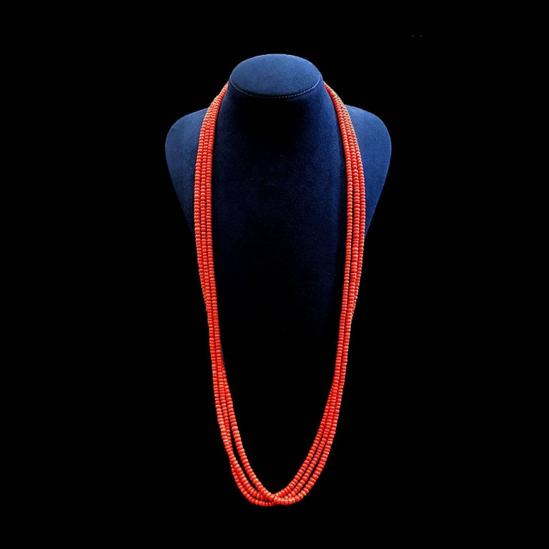 Three Strands of Coral Roundels Necklace 3