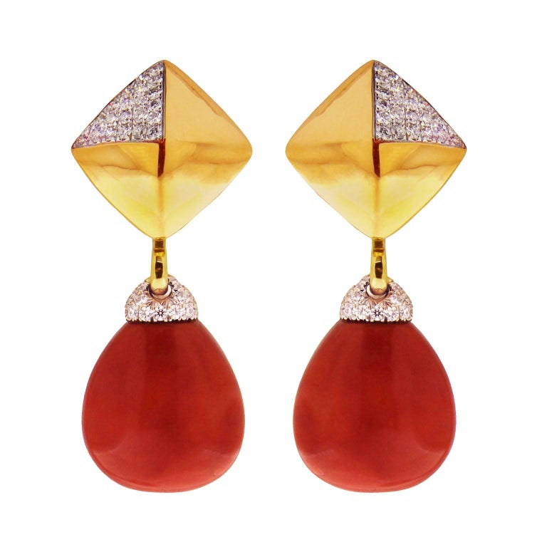 Pave Coral Diamond Gold Pyramid Removable Clip Earrings
