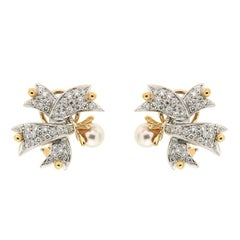 Valentin Magro Twisted Ribbon Pearl and Diamond Mixed-Metal Earrings