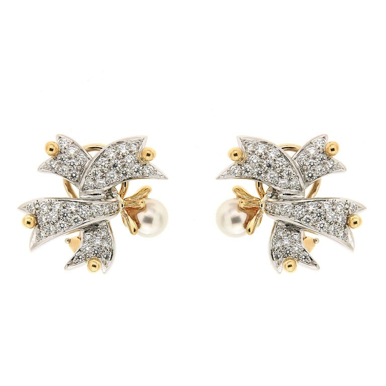 Valentin Magro Twisted Ribbon Pearl Diamond Gold Platinum Earrings