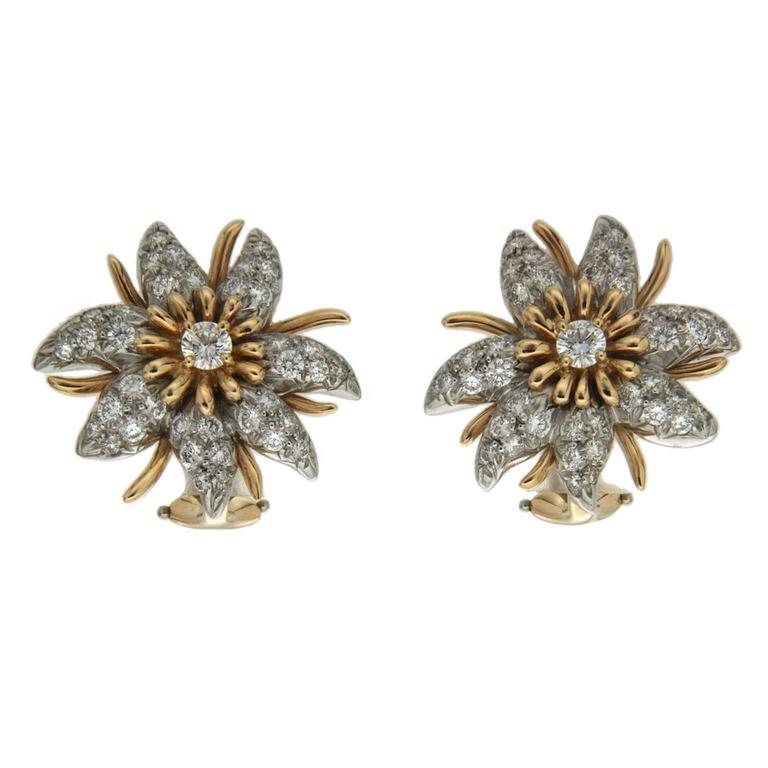 Diamond Gold Platinum Seven-Petal Flower Earrings