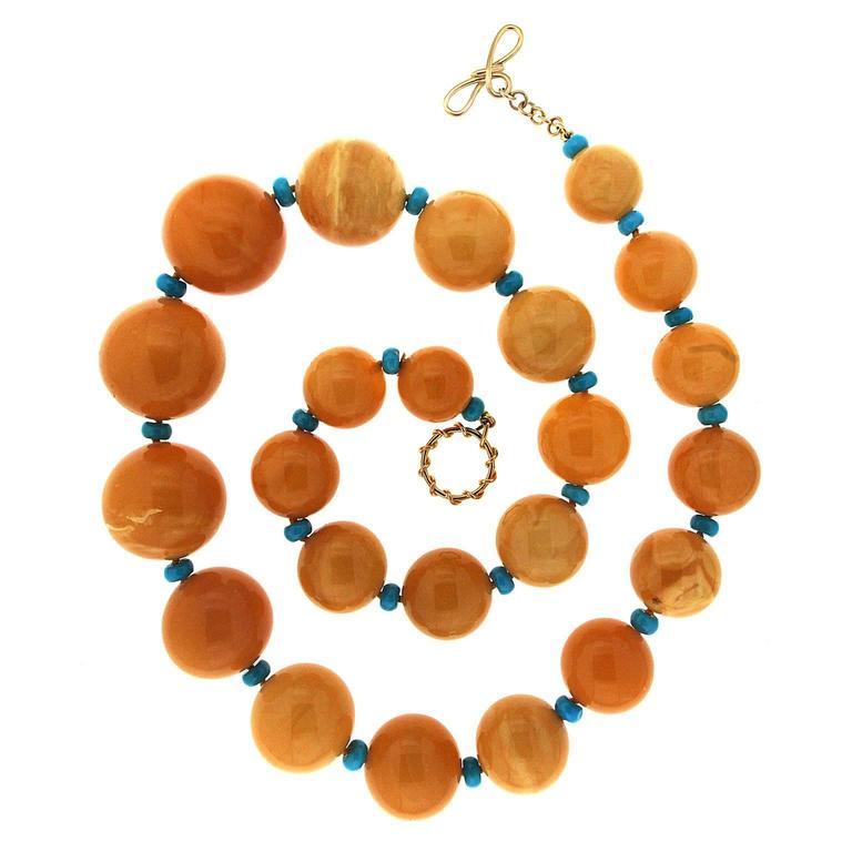 Valentin Magro Yellow butterscotch Amber and turquoise roundels Necklace