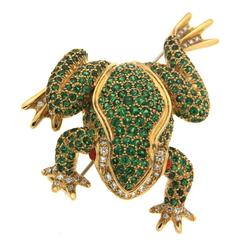 Small Tsavorite Opal Diamond Gold Frog Brooch