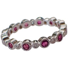 Eternity Band, 0.72 Carat of Ruby and 0.12 Carat of Diamond, 18 Karat White Gold