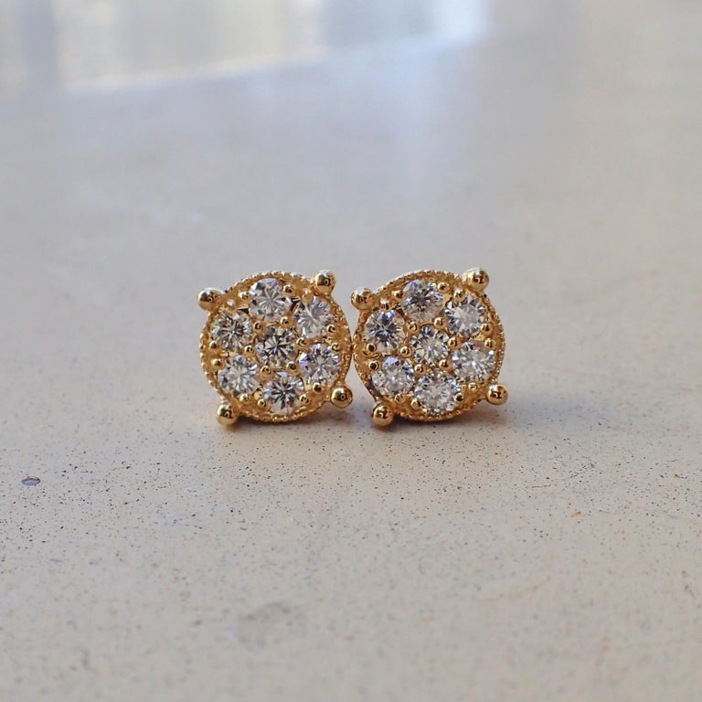Contemporary 18 Karat Gold Stud Earrings Are Set With 0 68 Carat Of Diamond Illusion
