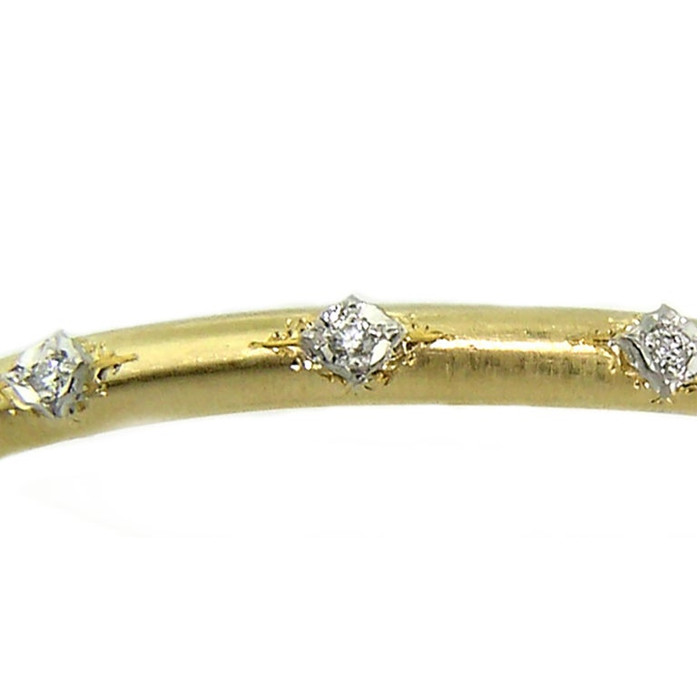 18kt Gold and Diamond Andrea Bangle, Handmade and Engraved in Florence, Italy In New Condition For Sale In Lynchburg, VA