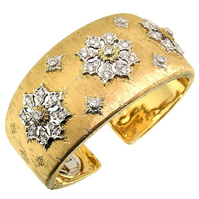 18 Karat Gold and Diamond Engraved Liliana Cuff, Handmade in Florence, Italy