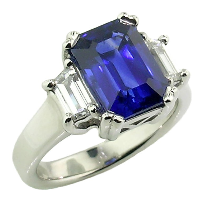 3.67 Carat Royal Blue Ceylon Sapphire in Diamond and Platinum Ring 'GRS Report' For Sale