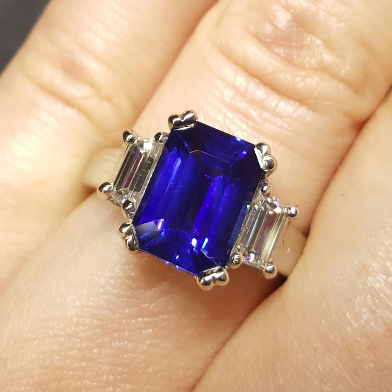 This rich, vivid royal blue sapphire is as eye-catching as it gets; the color is intense and dramatic, and the exquisite quality of the cut helps to maximize the brightness of the stone. The 3.67ct octagonal shape is absolutely perfectly shaped and