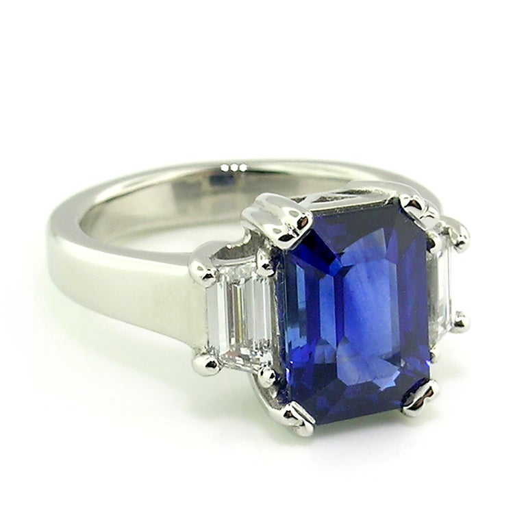 Emerald Cut 3.67 Carat Royal Blue Ceylon Sapphire in Diamond and Platinum Ring 'GRS Report' For Sale