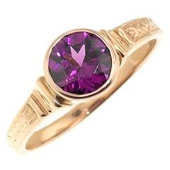 18 Karat Rose Gold Custom Ring with Purple Garnet