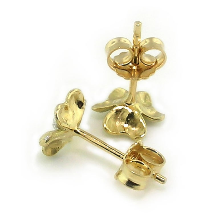Women's 18kt and Diamond Floral Earrings, Handmade and Hand Engraved in Florence, Italy For Sale