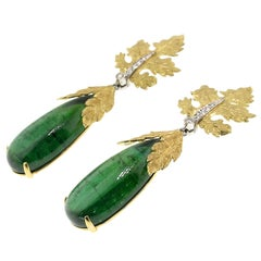 18 Karat Hand Engraved Earrings with 35.49 Carat Green Tourmaline, Made in Italy
