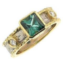 Blue Green Tourmaline and Diamonds in 18 Karat Hand Engraved Italian Ring