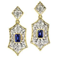 Ceylon Blue Sapphire and Diamond in 18 Karat Engraved Earrings, Handmade, Italy