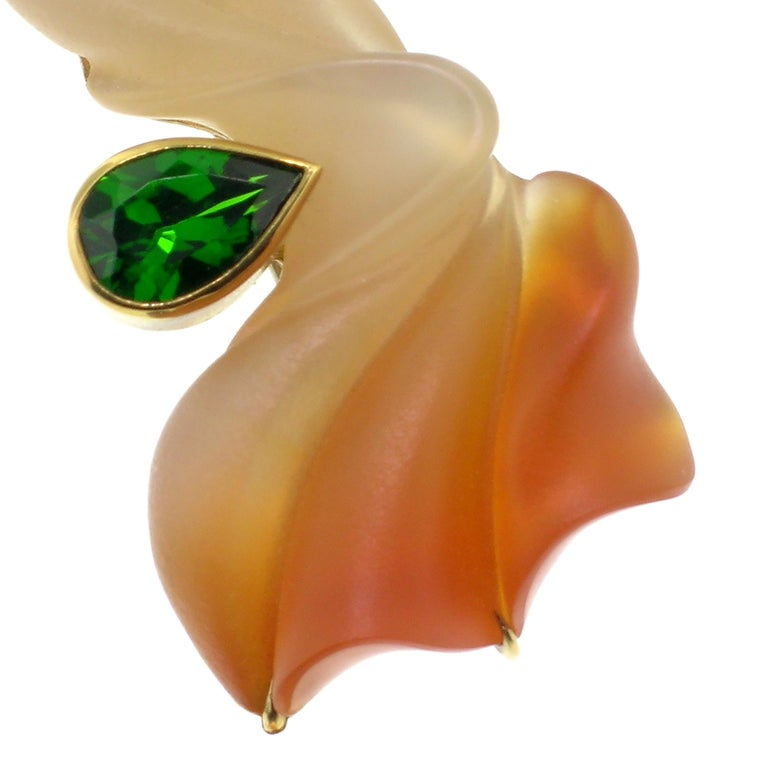 Carved Carnelian, Chrome Diopside and Tahitian Pearl in 18kt Pendant and Brooch In New Condition For Sale In Lynchburg, VA