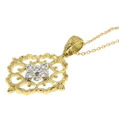 18 Karat and Diamond Hand-Engraved Necklace, Handmade in Florence, Italy