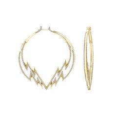 Venyx 18 Karat Yellow Gold and Diamond Electra Hoop Earrings