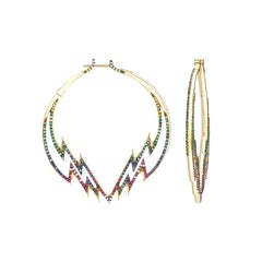 Venyx 18 Karat Gold Sapphire Diamond Ruby Tsavorites  Hoop Earrings