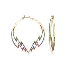 Venyx 18 Karat Gold Sapphire Diamond Ruby Tsavorites  Hoop Earrings