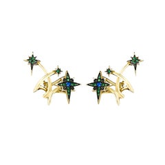 18 Karat Yellow Gold Diamond Blue Sapphires Tsavorites Lady Australis Earrings
