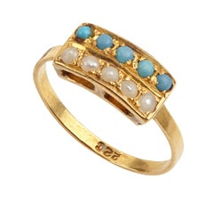 Turquoises and Pearls 22K Gold Antique Ring