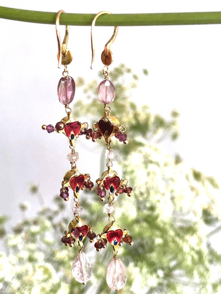 Women's Diamonds, Sapphire and Pink Tourmaline Briolette Cut 18K Gold Dangle Earrings For Sale