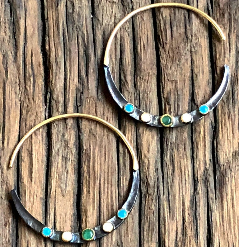 Emerald, Turquoises, Pearls, 14K Gold Oxidized Serling Silver Hoop Earrings For Sale 1