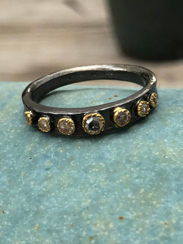 Champaign Diamonds 14 Karat Gold Oxidized Sterling Silver Band Ring For Sale 2