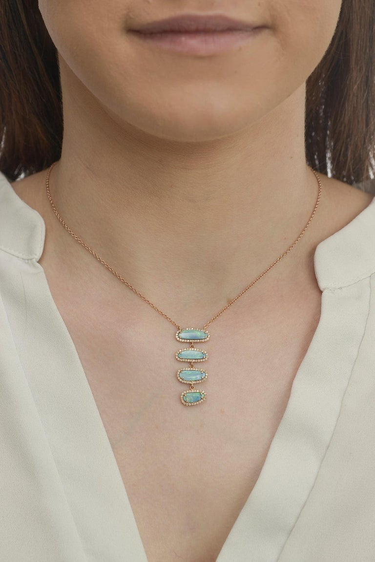 Contemporary Four Opal Slice Necklace For Sale