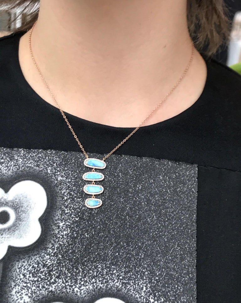 Women's Four Opal Slice Necklace For Sale