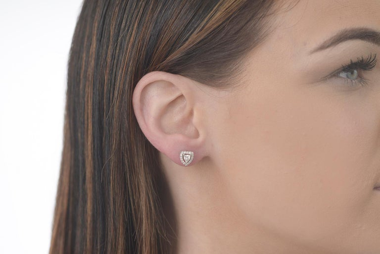 Contemporary Fancy Shield Shape Diamond Stud Earrings For Sale